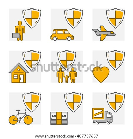 Modern line set icons of insurance. Outline insurance cars and home insurance. Line life insurance and health insurance. - stock photo