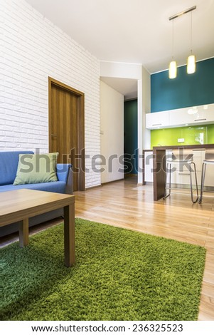 Modern living room and kitchen with green decorations - stock photo