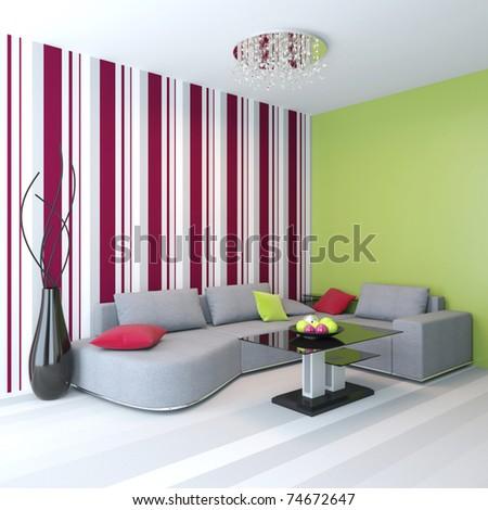 Modern living room. Angular sofa - stock photo