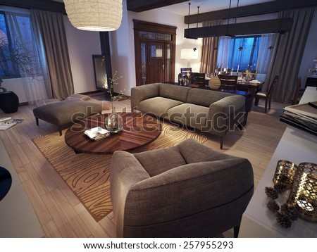 Modern living room, 3d images - stock photo