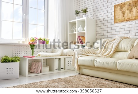 modern living room in bright colors - stock photo