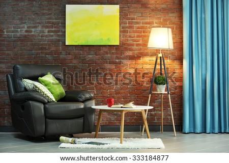 Modern living room interior - stock photo