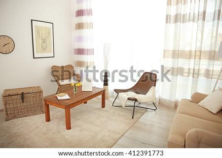 Modern living room interior. - stock photo