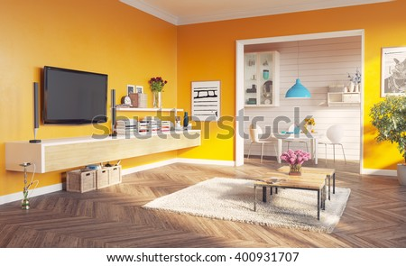 modern living room interior. 3d rendering design concept - stock photo