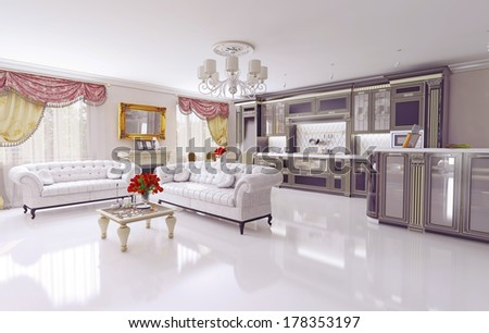 modern living room interior. design concept - stock photo