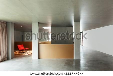 Modern living room, interior house, concrete wall - stock photo