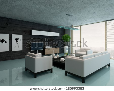 Modern living room interior with black stone wall - stock photo