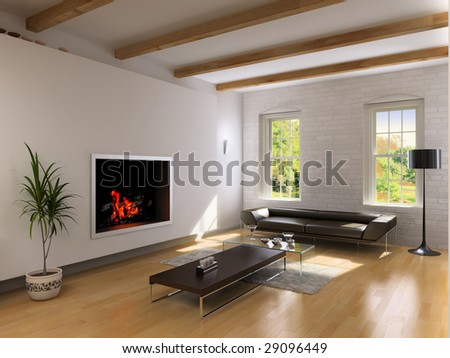modern living room interior with fireplace (3D rendering) - stock photo