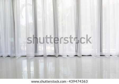 Modern living room interior with soft white curtain background - stock photo