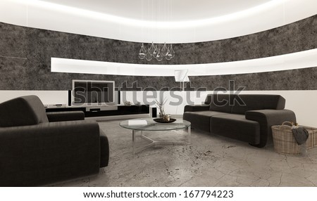 Modern living room interior with stone tiles and concrete floor - stock photo