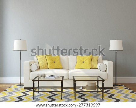 Modern living-room interior with white couch near empty gray wall. 3d render. Photo on book cover was made by me. - stock photo