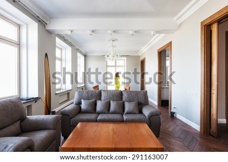 Modern living room interior. Young woman standing in front of window, rear view 