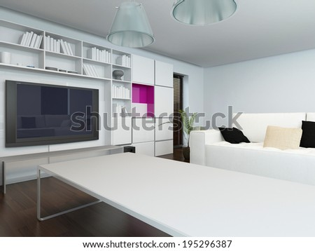 Modern living room with a neutral white and grey decor and a large television set in built in cabinets furnished with a comfortable couch and large coffee table - stock photo