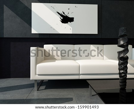 Modern living room with black stone wall and abstract painting - stock photo