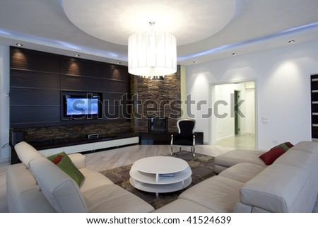 modern living room with fireplace - stock photo