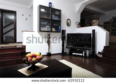 Modern living room with plasma and hi-tech sound system - stock photo