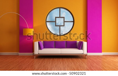 modern living room with sofa and big circular window - rendering -the sky on background is a my photo - stock photo