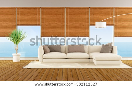 Modern living room with sofa of a beach house - 3D Rendering - stock photo