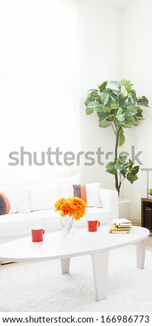 modern living room with table - stock photo