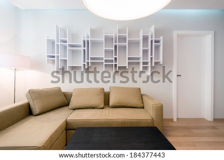 modern living-room with table and sofa  - stock photo