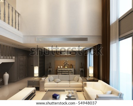 Modern living-room with the modern furniture - stock photo