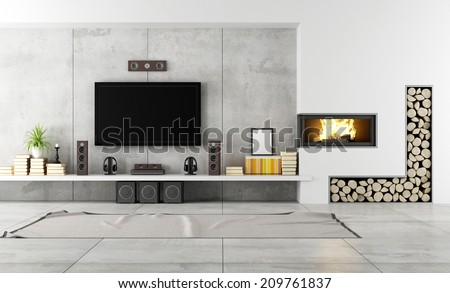 Modern living room with TV and fireplace - rendering - stock photo