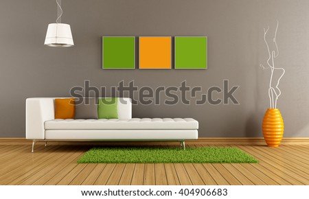 Modern living room with white couch and colorful cushion -  3d rendering - stock photo