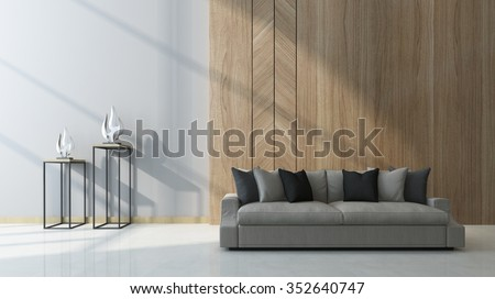 Modern living room with wood paneling as a feature on the wall behind a comfortable generic couch with two sculptures on tables alongside in a shaft of sunlight. 3d Rendering. - stock photo