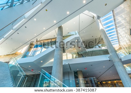 Modern lobby, hallway, plaza of the luxury building center, hotel, shopping mall, business center in Vancouver, Canada. Interior design. - stock photo