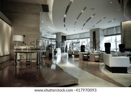 Modern lobby interior. - stock photo