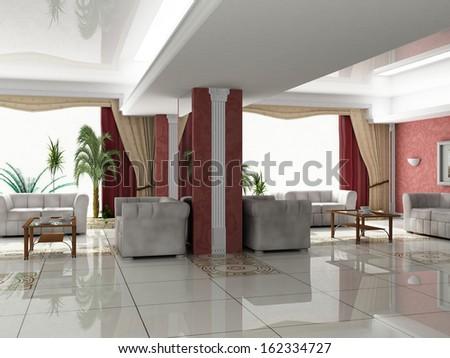 Modern lobby interior. classic decor - stock photo