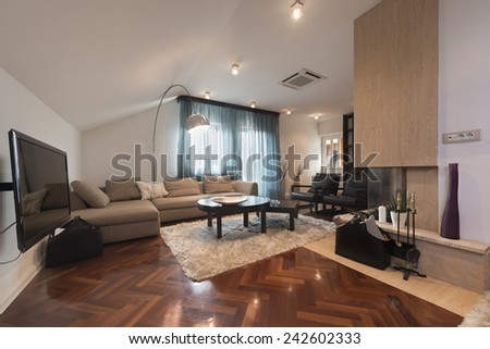 Modern loft apartment with fireplace - stock photo