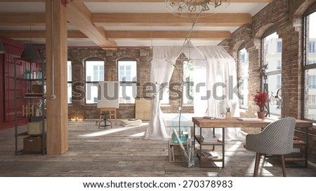 Modern loft bedroom (3 d render using 3 d s Max) - stock photo