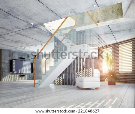 Modern loft interior. Contemporary design concept 3d - stock photo
