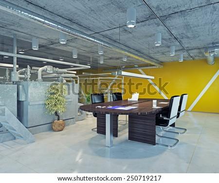 modern loft office interior. 3d design concept - stock photo