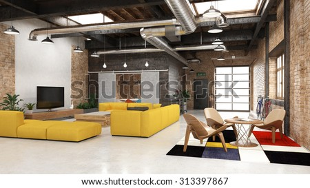 Modern loft with industrial details - 3 d render (using 3 d s Max) - stock photo