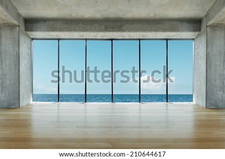 Modern loft with sea view - stock photo
