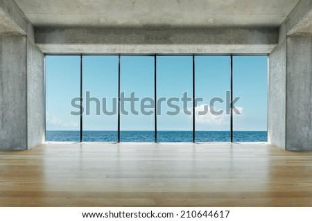 Modern loft with sea view - stock photo