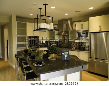 Modern looking kitchen - stock photo