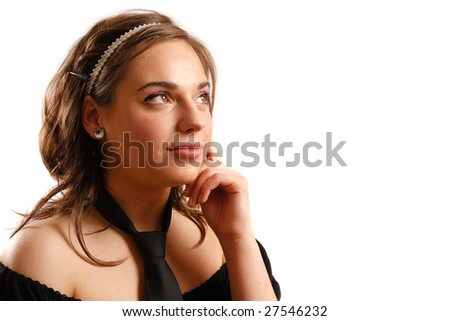 Modern looking young woman wearing a black dress and tie - stock photo