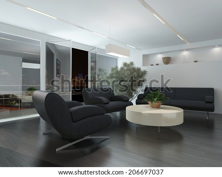 Modern lounge or waiting room interior with comfortable armchairs and a sofa around a low table, a potted tree and recessed lighting - stock photo