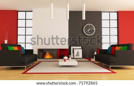 modern lounge with two couch and minimalist fireplace - rendering - the picture on wall is a my photo ,London 2008 - stock photo