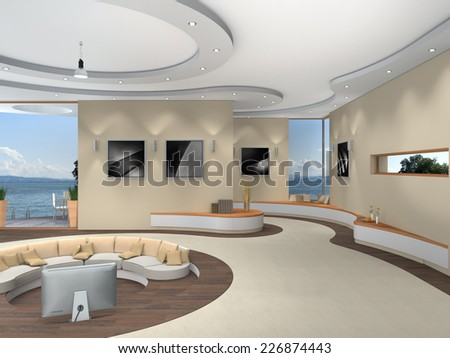 modern luxurious futuristic 3D interior rendering with a beautiful view to the lake - stock photo