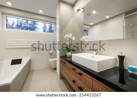 Modern luxury bathroom  in european style - stock photo