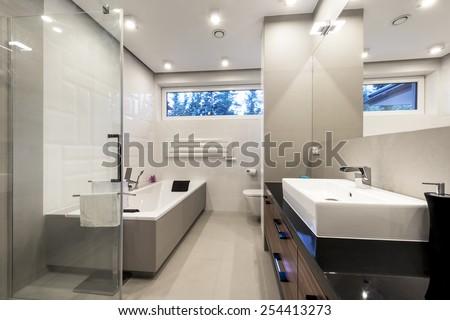 Modern luxury bathroom with bath in european style - stock photo
