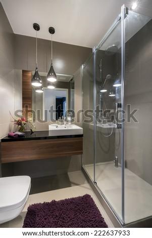 Modern luxury bathroom with shower in european style - stock photo