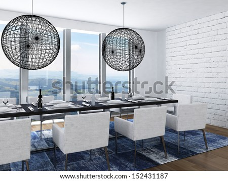 Modern luxury dining room with elegant table setting - stock photo
