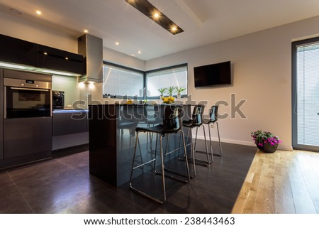 Modern luxury kitchen interior with steel elements - stock photo