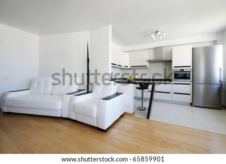 Modern luxury living room interior. I am the AUTHOR of this interior design. There is NO brand names or copyright objects. - stock photo