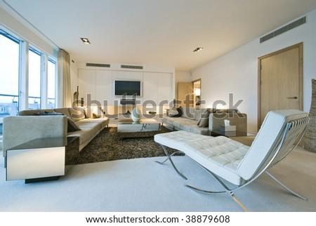 modern luxury living room with designer furniture - stock photo